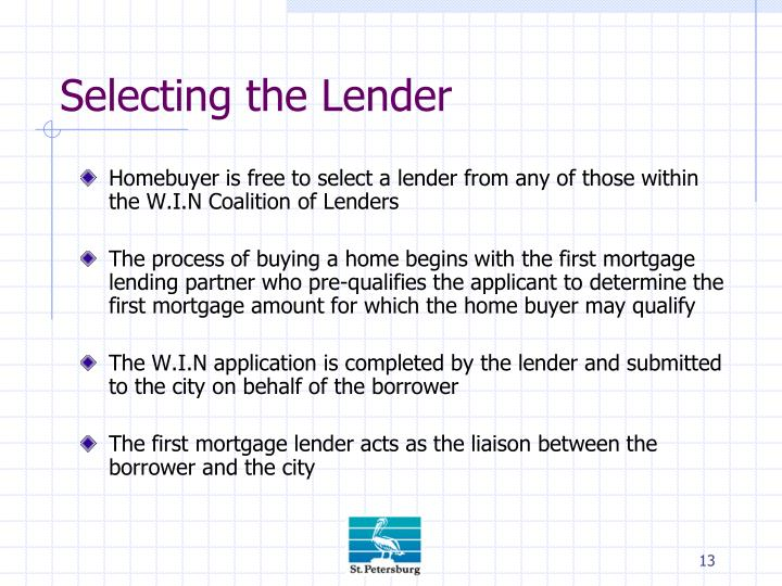 Selecting the Lender