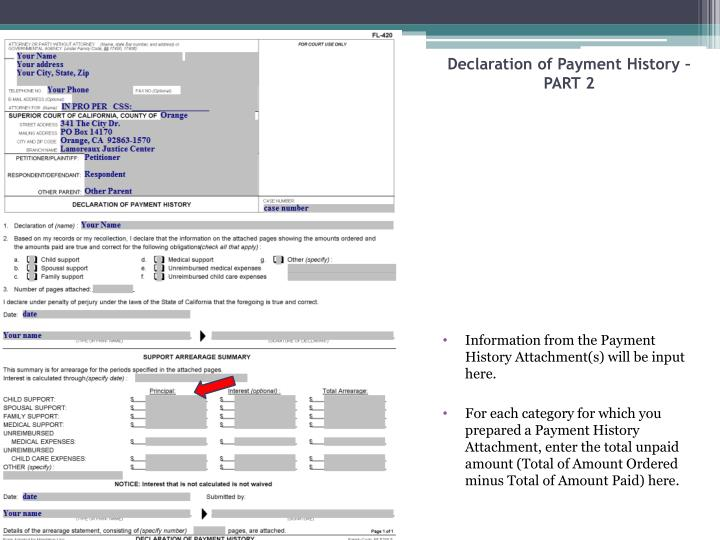 Declaration of Payment History – PART 2