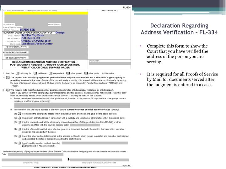 Declaration Regarding Address Verification – FL-334
