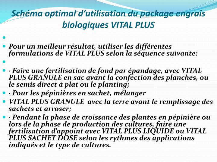 Schéma optimal d'utilisation du package engrais biologiques VITAL PLUS