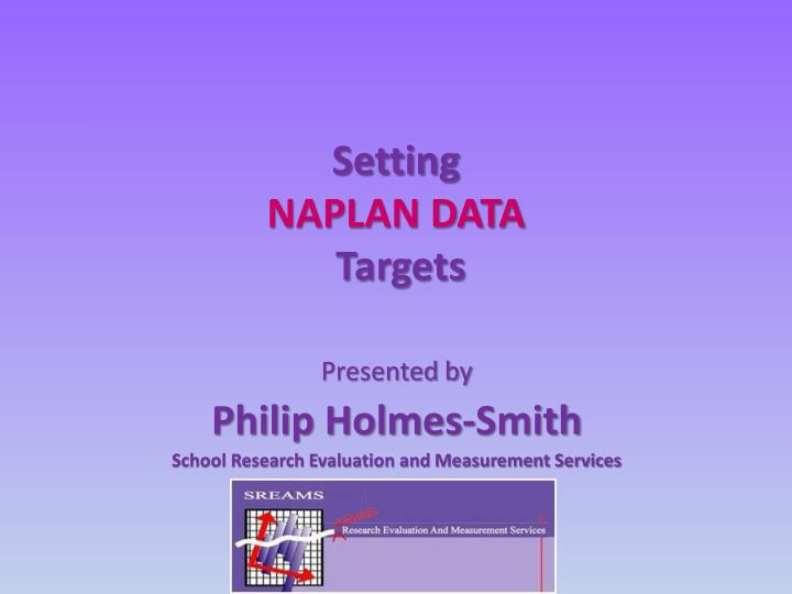 Setting naplan data targets