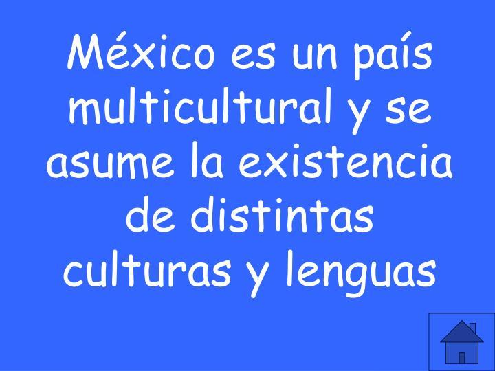 México es un país multicultural y se asume la existencia de distintas culturas y lenguas