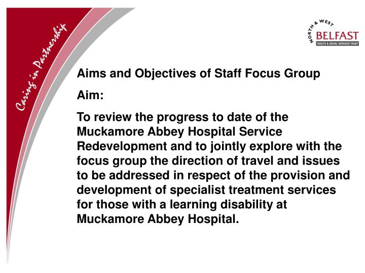 Aims and Objectives of Staff Focus Group