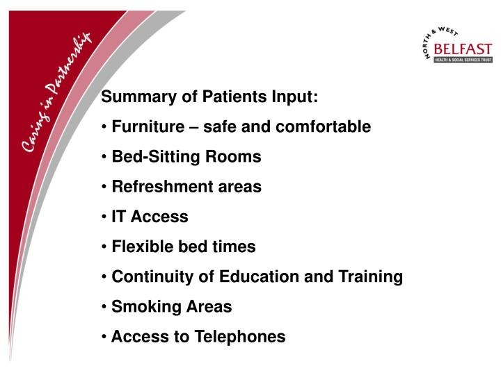 Summary of Patients Input: