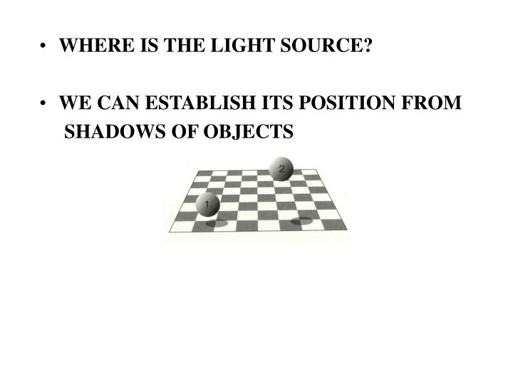 WHERE IS THE LIGHT SOURCE?