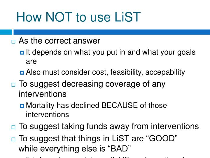 How NOT to use LiST