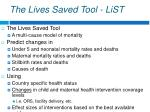 the lives saved tool list