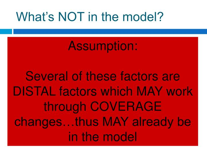What's NOT in the model?