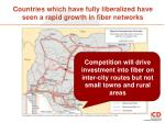 countries which have fully liberalized have seen a rapid growth in fiber networks1