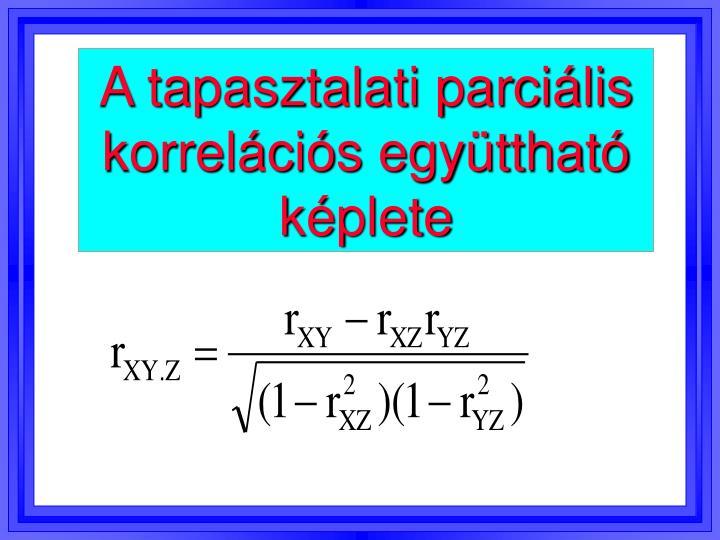 A tapasztalati parciális korrelációs együttható képlete