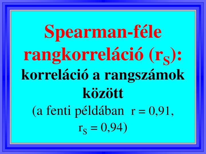 Spearman-féle rangkorreláció (r