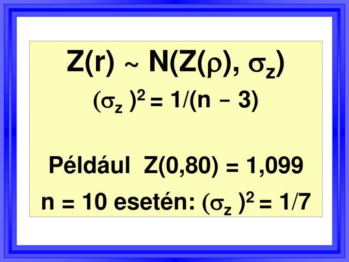 Z(r) ~ N(Z(