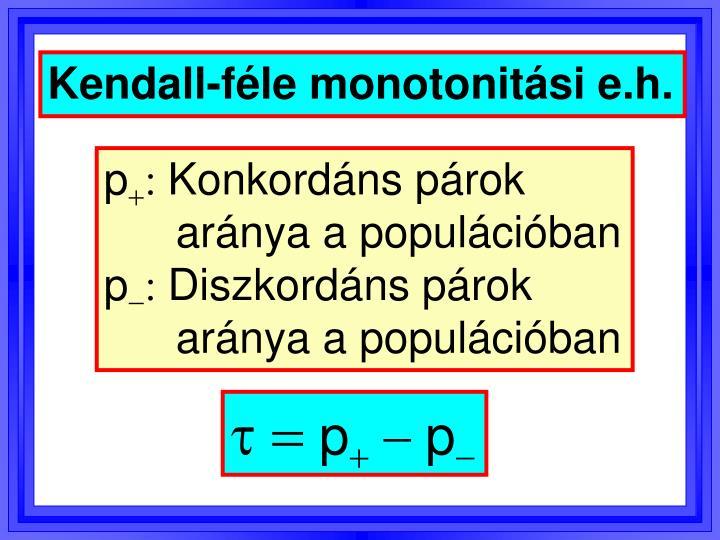 Kendall-féle monotonitási e.h.