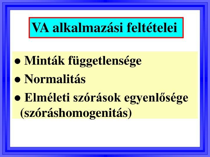 VA alkalmazási feltételei