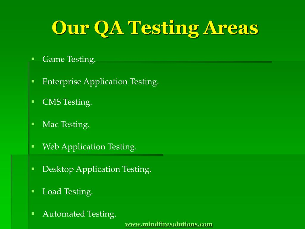 Our QA Testing Areas