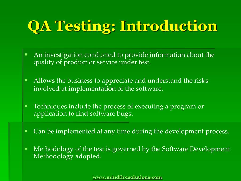 QA Testing: Introduction