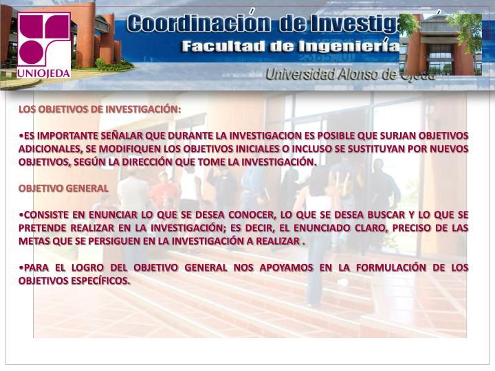 LOS OBJETIVOS DE INVESTIGACIÓN: