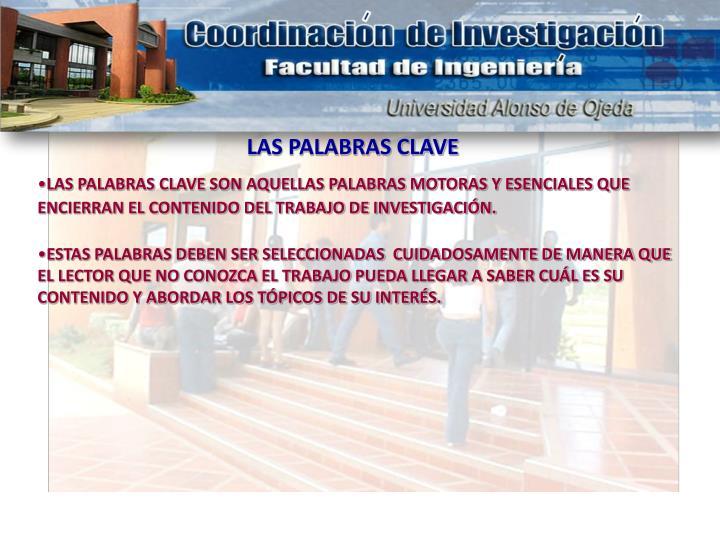 LAS PALABRAS CLAVE
