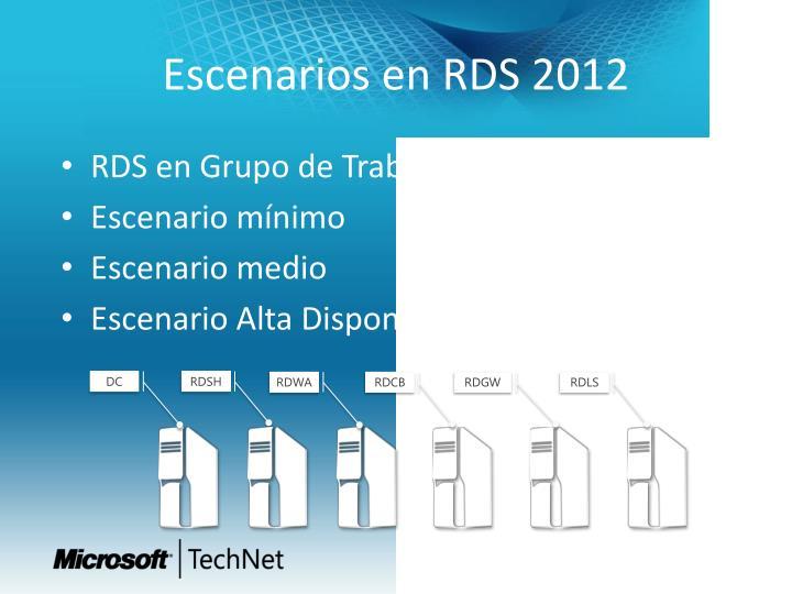Escenarios en RDS 2012