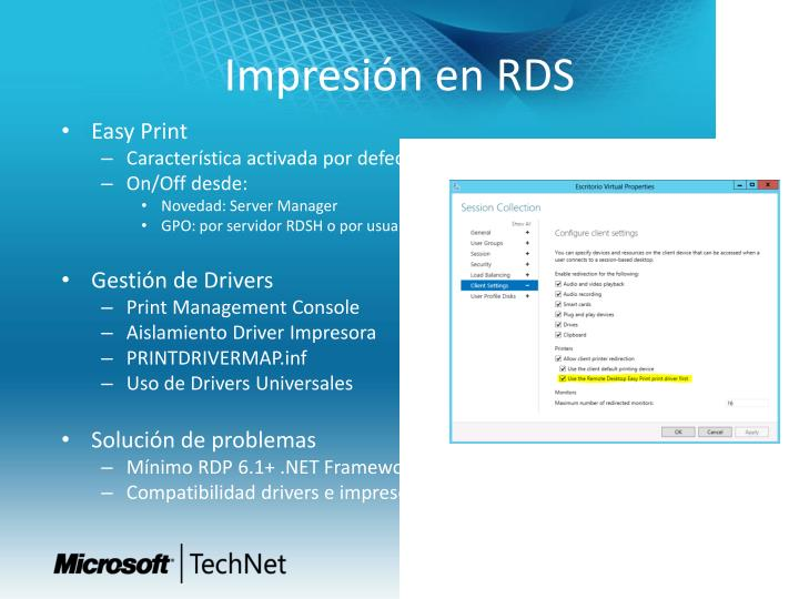Impresión en RDS