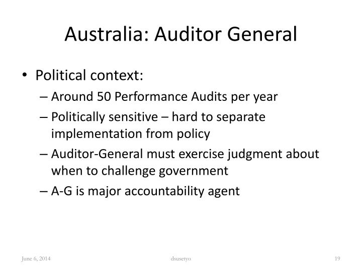 Australia: Auditor General