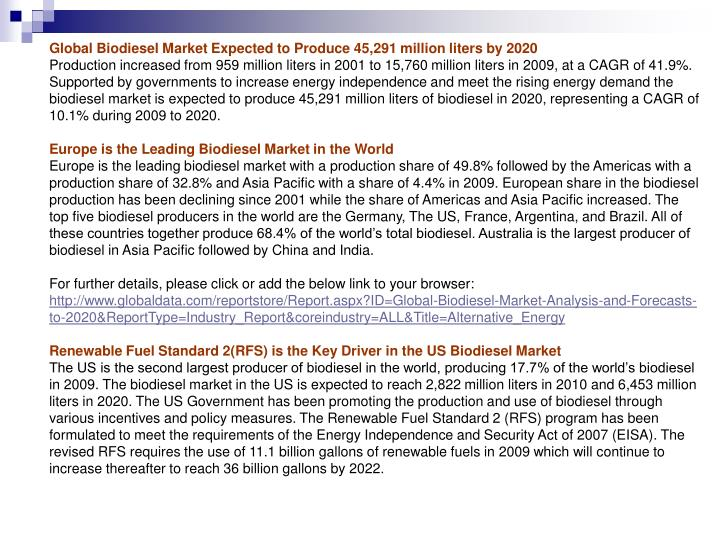 Global Biodiesel Market Expected to Produce 45,291 million liters by 2020