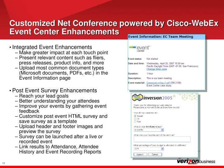 Customized Net Conference powered by Cisco-WebEx Event Center Enhancements