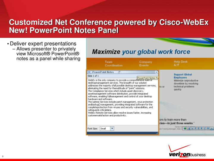 Customized Net Conference powered by Cisco-WebEx New! PowerPoint Notes Panel