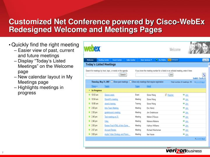 Customized Net Conference powered by Cisco-WebEx Redesigned Welcome and Meetings Pages