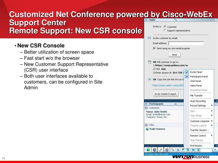 Customized Net Conference powered by Cisco-WebEx Support Center