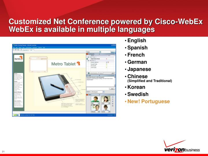 Customized Net Conference powered by Cisco-WebEx WebEx is available in multiple languages
