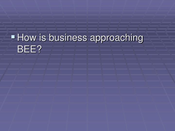 How is business approaching BEE?