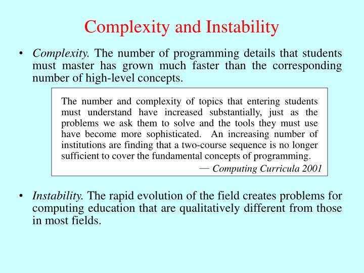 Complexity and Instability