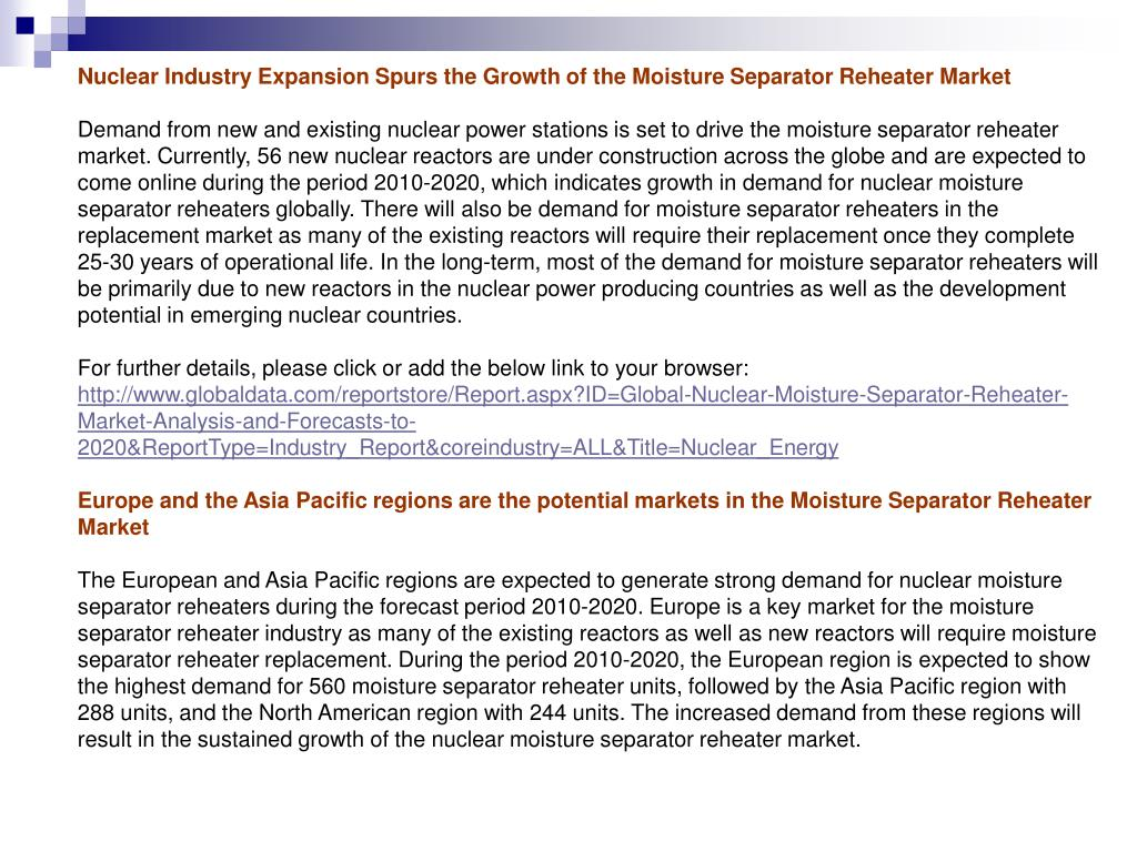 Nuclear Industry Expansion Spurs the Growth of the Moisture Separator Reheater Market