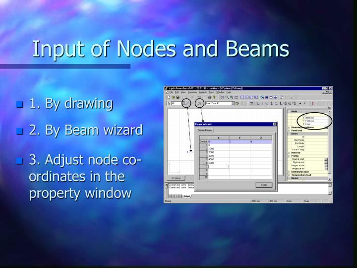 Input of nodes and beams