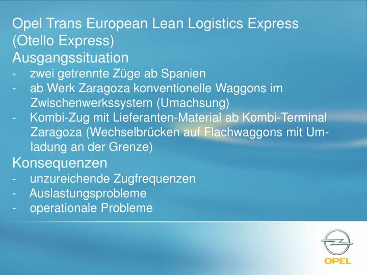 Opel Trans European Lean Logistics Express