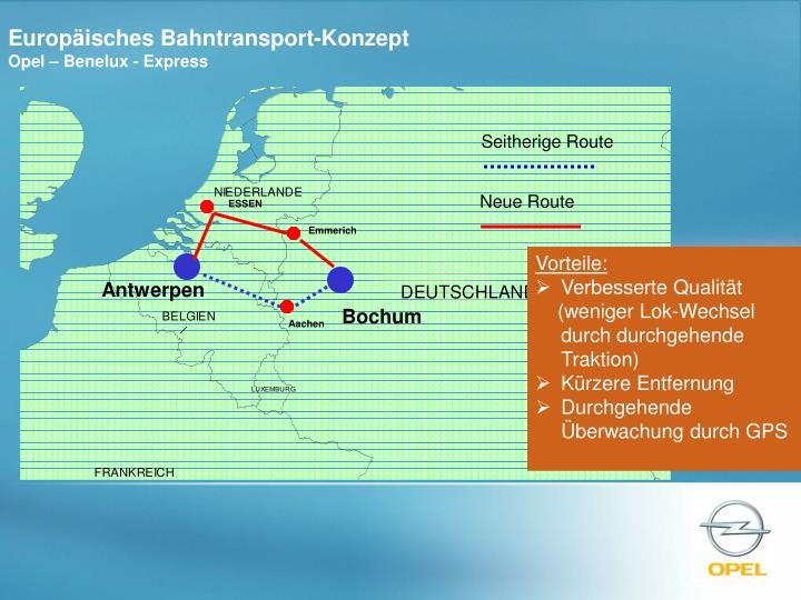Europäisches Bahntransport-Konzept