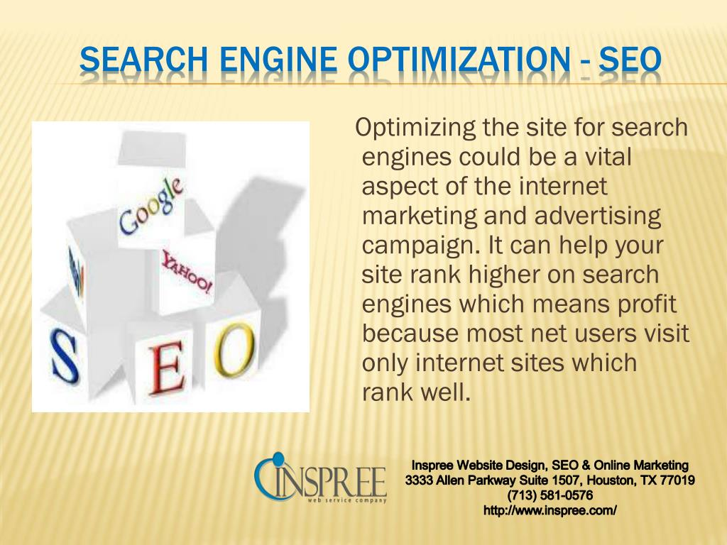 Optimizing the site for search engines could be a vital aspect of the internet marketing and advertising campaign. It can help your site rank higher on search engines which means profit because most net users visit only internet sites which rank well.