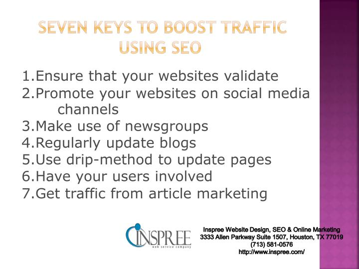 Seven keys to boost traffic using seo