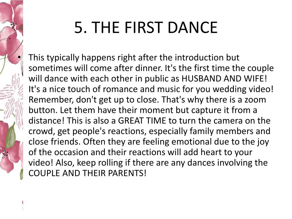 5. THE FIRST DANCE