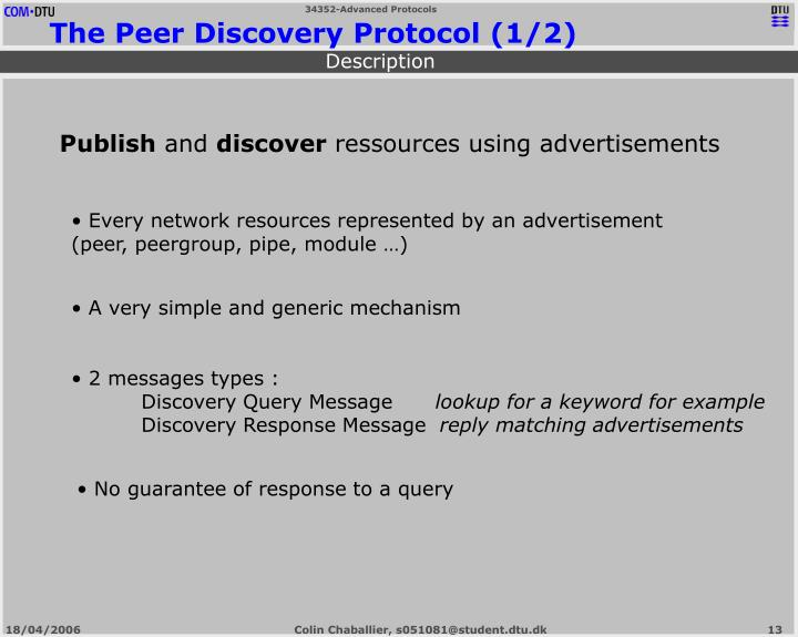 The Peer Discovery Protocol (1/2)