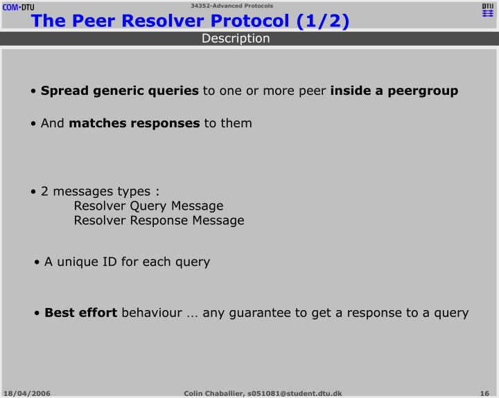 The Peer Resolver Protocol (1/2)