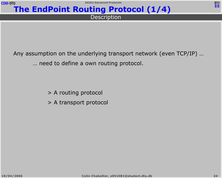 The EndPoint Routing Protocol (1/4)