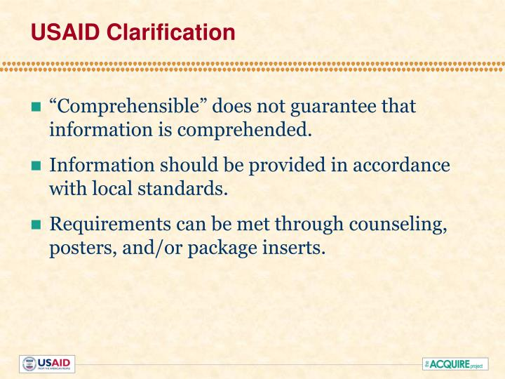 USAID Clarification