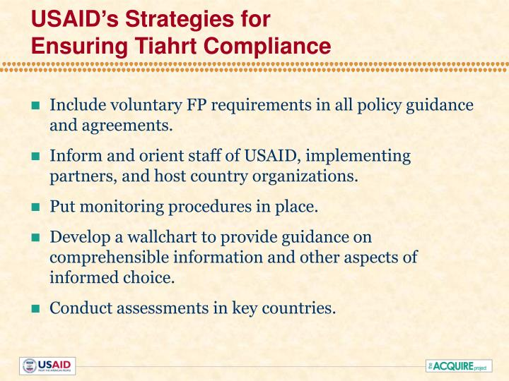 USAID's Strategies for