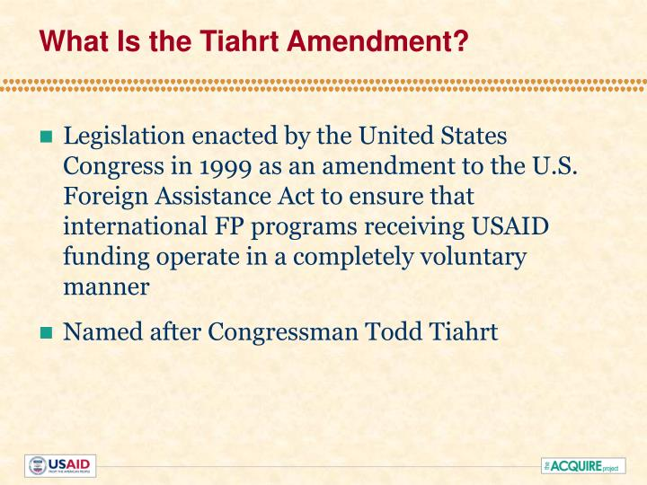 What is the tiahrt amendment