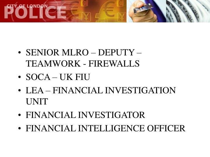 SENIOR MLRO – DEPUTY – TEAMWORK - FIREWALLS
