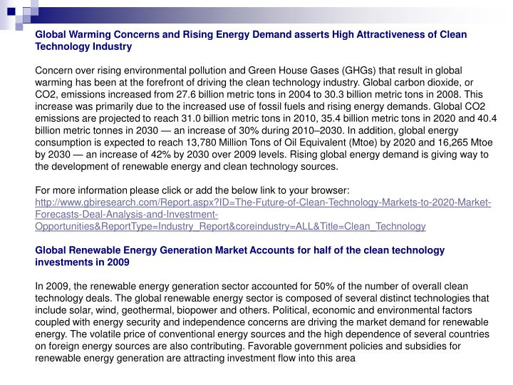 Global Warming Concerns and Rising Energy Demand asserts High Attractiveness of Clean Technology Industry