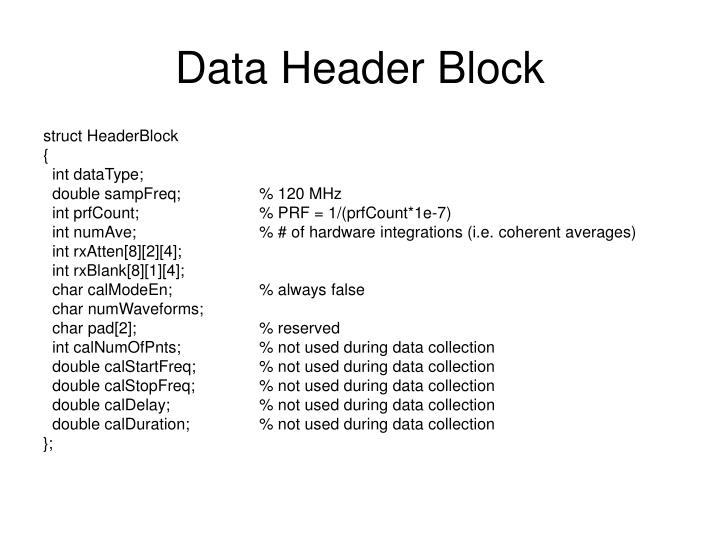 Data header block