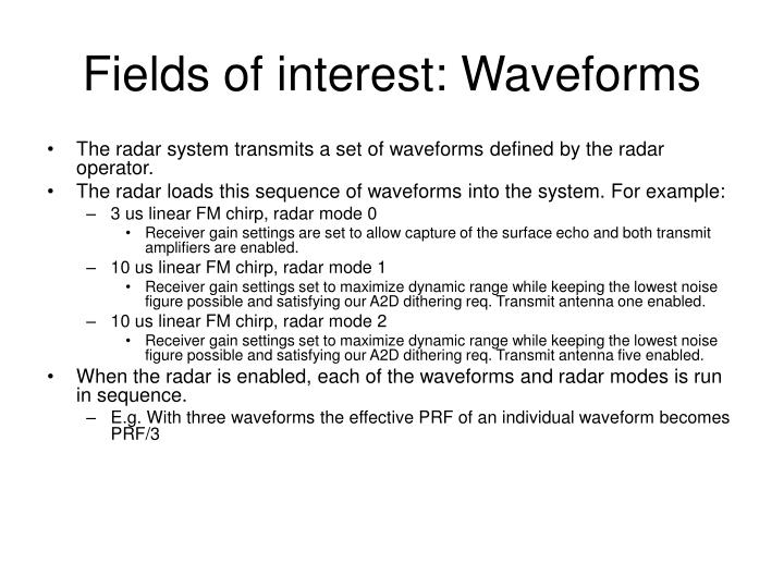 Fields of interest: Waveforms